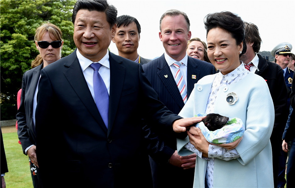 Chinese president plants tree with primary school students in Tasmania state, Australia