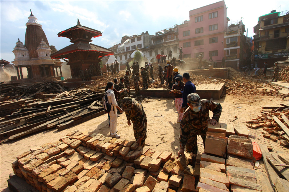 The debris at Patan Durbar Square after Nepal earthquake