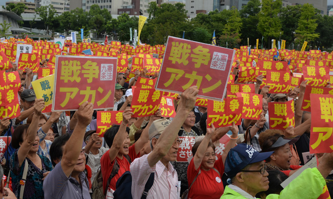 Abe's era as wannabe warmonger may be short-lived as nation unites, youngsters stand tall